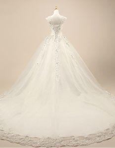 2015 Luxus Brautkleid Spitze Schultern Kristallhochzeitskleid