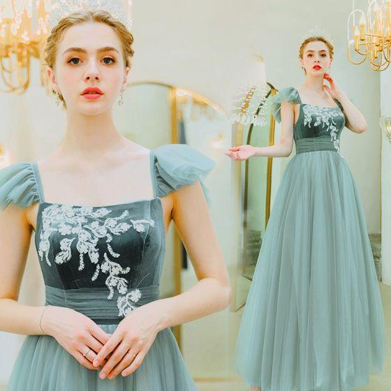 Elegant Jade Green Evening Dresses  2019 A-Line / Princess Square Neckline Suede Lace Flower Sleeveless Backless Floor-Length / Long Formal Dresses