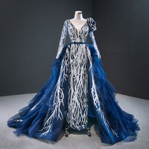 Luxury / Gorgeous Royal Blue Red Carpet Evening Dresses  2020 A-Line / Princess See-through Deep V-Neck Long Sleeve Appliques Sequins Court Train Cascading Ruffles Backless Formal Dresses