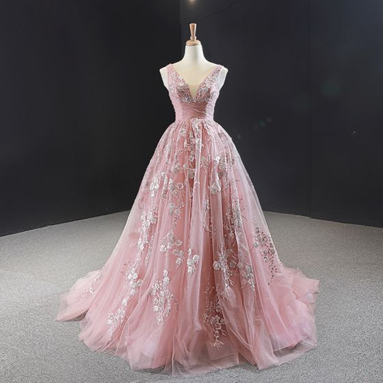 Classy Pearl Pink Evening Dresses  2020 A-Line / Princess V-Neck Sleeveless Flower Appliques Lace Beading Sweep Train Ruffle Backless Formal Dresses