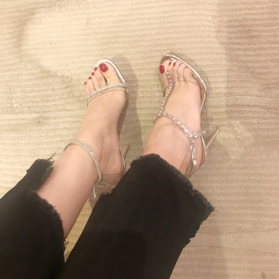Sexy Silver Street Wear Womens Sandals 2020 Leather Rhinestone T-Strap 9 cm Stiletto Heels Open / Peep Toe Sandals