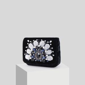 Mooie / Prachtige Zwarte Suede Parel Rhinestone Pailletten Handtassen 2019