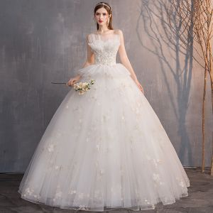 Affordable Ivory Wedding Dresses 2019 Ball Gown Strapless Beading Sequins Lace Flower Sleeveless Backless Floor-Length / Long