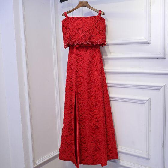 Hermoso Rojo Vestidos Formales Vestidos de noche 2017 Con Encaje Flor Bowknot Fuera Del Hombro Sin Mangas La altura del tobillo A-Line / Princess