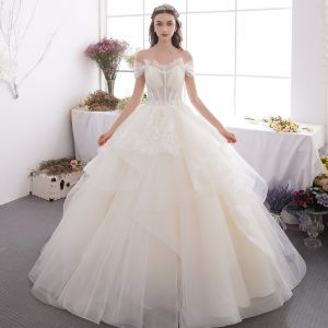 Affordable Champagne Outdoor / Garden Wedding Dresses 2019 A-Line / Princess Off-The-Shoulder Short Sleeve Backless Appliques Lace Beading Glitter Sequins Floor-Length / Long Ruffle