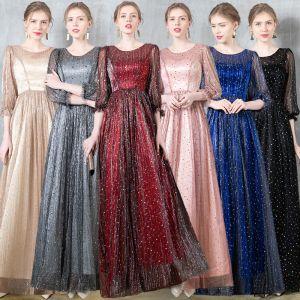 Charmig Burgundy Aftonklänningar 2020 Prinsessa Urringning Stjärna Paljetter Ruffle 3/4 ärm Långa Formella Klänningar