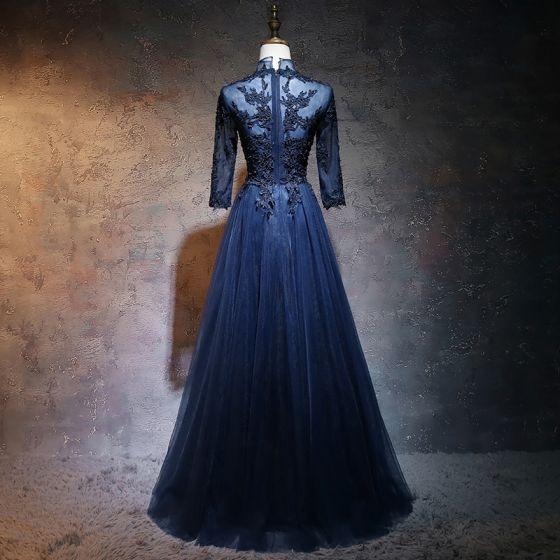 Kinesisk Stil Mørk Marineblå Ballkjoler 2017 Prinsesse Høy Hals 3/4 Ermer Appliques Blonder Perle Lange Buste Boret Formelle Kjoler