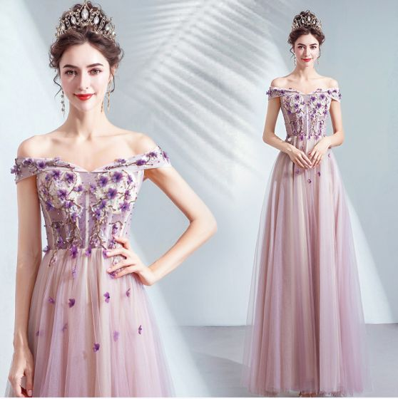Chic / Belle Violet Robe De Bal 2020 Princesse De l'épaule Perlage Cristal Appliques En Dentelle Fleur Sans Manches Dos Nu Longue Robe De Ceremonie
