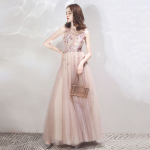 Chic / Beautiful Lilac Evening Dresses  2019 A-Line / Princess See-through Deep V-Neck Sleeveless Appliques Flower Beading Floor-Length / Long Ruffle Backless Formal Dresses