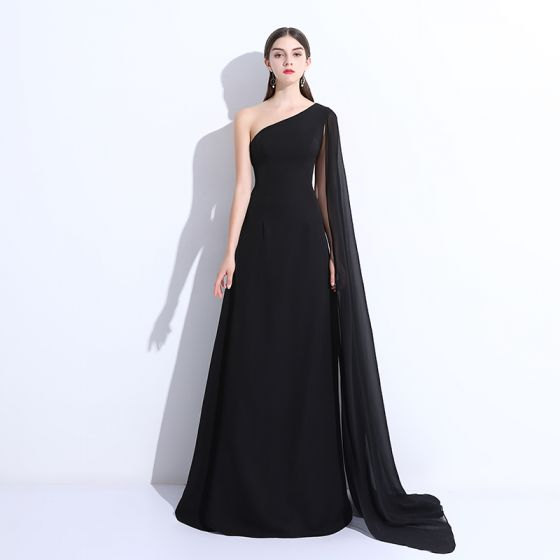 Modest Simple Evening Dresses 2018 A Line Princess One Shoulder Backless Sleeveless Floor Length Long Formal Dresses