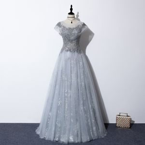 Illusion Grey See-through Evening Dresses  2020 A-Line / Princess Scoop Neck Short Sleeve Sequins Beading Floor-Length / Long Ruffle Backless Formal Dresses