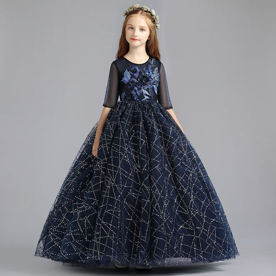 Chic / Beautiful Navy Blue Flower Girl Dresses 2019 A-Line / Princess Scoop Neck 1/2 Sleeves Appliques Lace Pearl Glitter Sequins Floor-Length / Long Ruffle Wedding Party Dresses