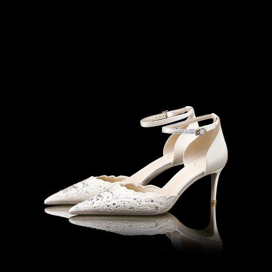 Luksusowe Białe Buty Ślubne Skórzany Frezowanie Rhinestone Wysokie Obcasy Szpiczaste Buty Damskie 2019