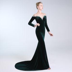 Elegant Dark Green Evening Dresses  2019 Trumpet / Mermaid Scoop Neck Beading Crystal Sequins Long Sleeve Suede Sweep Train Formal Dresses