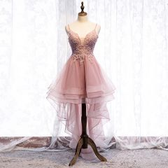 Chic / Beautiful Pearl Pink Cocktail Dresses 2019 A-Line / Princess Spaghetti Straps Beading Sequins Lace Flower Sleeveless Backless Asymmetrical Formal Dresses