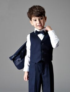 Children's Navy Blue Suits, Boys Wedding Suits 4 Sets