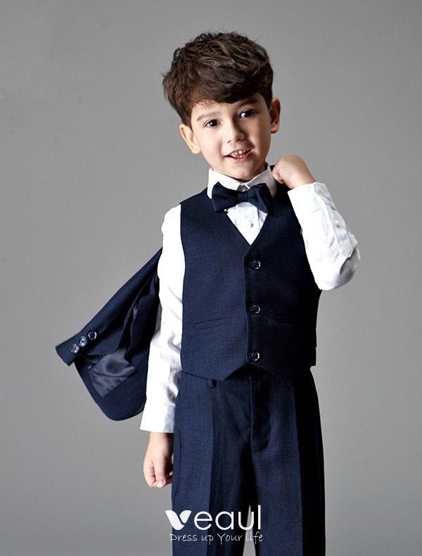 Children\'s Navy Blue Suits, Boys Wedding Suits 4 Sets - Boys Wedding ...