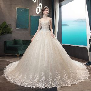 Affordable Champagne Wedding Dresses 2019 A-Line / Princess Sweetheart Sleeveless Backless Appliques Lace Pearl Beading Glitter Sequins Tulle Chapel Train Ruffle