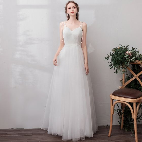 Modest / Simple White Evening Dresses  2019 A-Line / Princess Tulle Lace V-Neck Backless Embroidered Office Outdoor / Garden Summer Formal Dresses