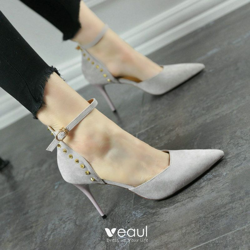 Chic / Beautiful Hall Pumps 2017 PU Rivet Suede High Heels Pointed Toe Pumps