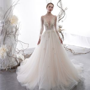 Sexy Champagne See-through Wedding Dresses 2020 A-Line / Princess High Neck Puffy Long Sleeve Appliques Lace Beading Pearl Chapel Train Ruffle