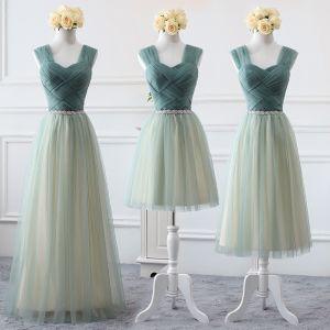 Abordable Vert Cendré Robe Demoiselle D'honneur 2019 Princesse épaules Sans Manches Dos Nu Faux Diamant Ceinture Robe Pour Mariage