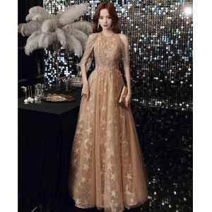 Chic / Beautiful Champagne Prom Dresses 2020 A-Line / Princess Scoop Neck Star Appliques Lace Sequins Beading Floor-Length / Long Ruffle Backless Formal Dresses