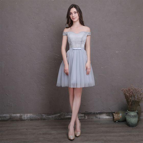 a94a3cddb Hermoso Plata de fiesta Vestidos de graduación 2018 A-Line   Princess  Bowknot Fuera Del Hombro Sin Espalda ...