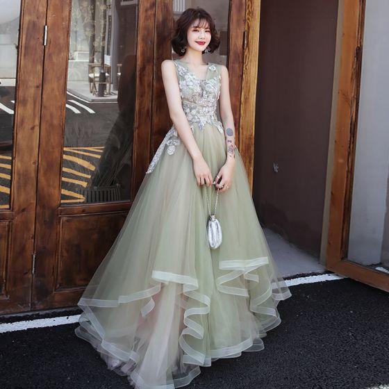 Elegant Green Evening Dresses  2019 A-Line / Princess V-Neck Sleeveless Appliques Lace Beading Floor-Length / Long Cascading Ruffles Backless Formal Dresses