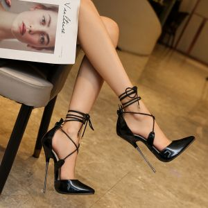 Sexy Black Rave Club Womens Sandals 2020 Ankle Strap 16 cm Stiletto Heels Pointed Toe Sandals