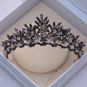 Vintage / Retro Baroque Black Tiara 2018 Metal Crystal Rhinestone Wedding Accessories