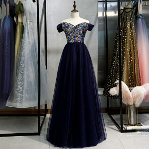 Chic / Beautiful Navy Blue Evening Dresses  2020 A-Line / Princess Off-The-Shoulder Multi-Colors Sequins Floor-Length / Long Short Sleeve Backless Formal Dresses