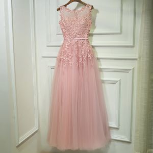 Chic / Beautiful Candy Pink Bridesmaid Dresses 2017 A-Line / Princess Lace Flower Pearl Strappy Sleeveless Ankle Length Wedding Party Dresses