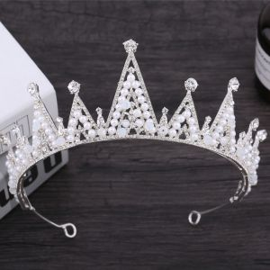 Sparkly Silver Bridal Jewelry 2018 Metal Pearl Rhinestone Tiara Accessories