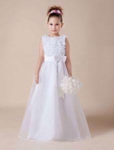 Niedlichen Weißen Weichen Tüll Blumenmädchen Kleid Kommunionkleider