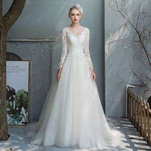 Affordable Champagne Outdoor / Garden Wedding Dresses 2020 A-Line / Princess V-Neck Long Sleeve Backless Pierced Appliques Lace Beading Pearl Sweep Train Ruffle