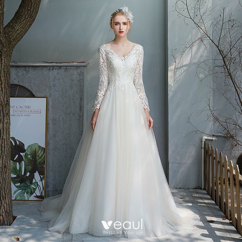 Affordable Champagne Outdoor Garden Wedding Dresses 2020 A Line