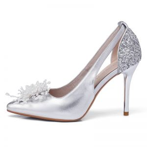 Bling Bling Summer Wedding Shoes 2018 Grey Leather Beading Rhinestone Womens Shoes