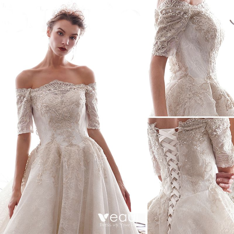 Luxury / Gorgeous Ivory Wedding Dresses 2019 A-Line / Princess Off-The-Shoulder Beading Lace Flower Short Sleeve Backless Royal Train