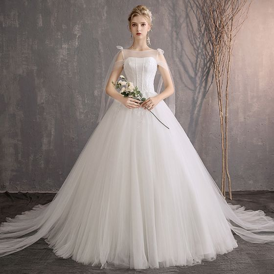 Elegant Ivory Wedding Dresses 2019 A-Line / Princess Lace Sequins Shoulders Sleeveless Backless Chapel Train