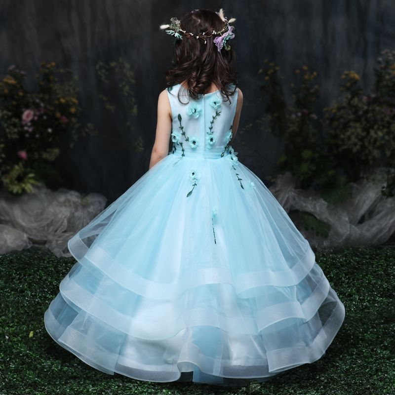 Chic / Beautiful Church Wedding Party Dresses 2017 Flower Girl Dresses Sky Blue Ball Gown Floor-Length / Long Scoop Neck Sleeveless Beading Flower Appliques