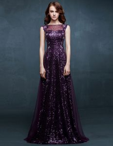 2015 Sleeveless Slim Fit Lace Sequins Long Evening Dress