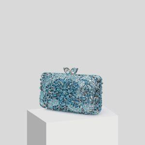Luksus Blå Glitter Rhinestone Håndvesken  2019