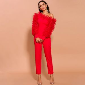 Fashion Red Jumpsuit 2020 One-Shoulder Puffy Long Sleeve Ankle Length Evening Dresses
