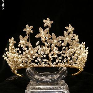 Charmerende Guld Brudesmykker 2020 Legering Rhinestone Blomsten Beading Tiara Øreringe Bryllup Accessories