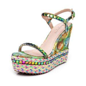 Luxus Multi-Farver Sandaler Dame 2017 Udendørs / Have PU Spænde Rhinestone High Heel Peep Toe Sandaler