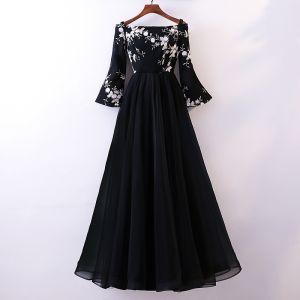 Chic / Belle Noir Robe De Soirée 2018 Princesse En Dentelle Fleur De l'épaule Manches Longues Longue Robe De Ceremonie