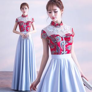 Chinesischer Stil Rot Himmelblau Abendkleider 2017 A Linie Stehkragen Charmeuse Schaltflächen Applikationen Stickerei Abend Festliche Kleider