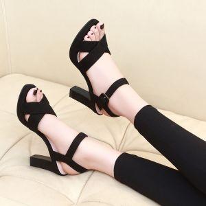 Asequible Negro Casual Sandalias De Mujer 2020 Correa Del Tobillo 10 cm Talones Gruesos Peep Toe Sandalias