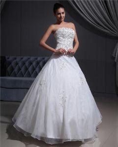 Satin Organza Applique Perlen Strapless Brautkleider